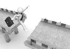 Businessman jumping over the road gap Stock Photography