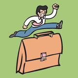 Businessman jumping over suitcase Royalty Free Stock Images