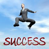 Businessman jumping upon success word - 3D render. Businessman jumping upon success word by beautiful day - 3D render Royalty Free Stock Image