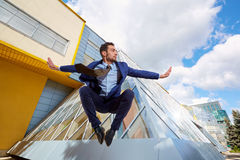 Businessman jumping. royalty free stock photo