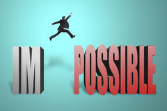 Businessman jumping to concrete word possible. Businessman jumping to possible from im, make it possible in green background Stock Photos
