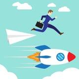 Businessman Jumping To Rocket vector illustration