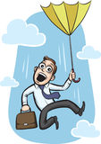 Businessman jumping with umbrella Stock Photos