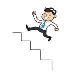 Businessman jumping up stairs cartoon Stock Photo