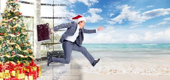 Businessman jumping on the water. Royalty Free Stock Images