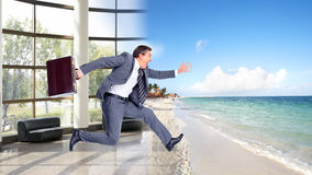 Businessman jumping on the water. Stock Photos