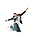 The businessman jumping on a white background Stock Photos