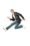 The businessman jumping on a white background Stock Photography