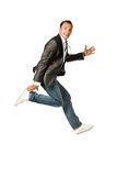 The businessman jumping on a white background Royalty Free Stock Photos