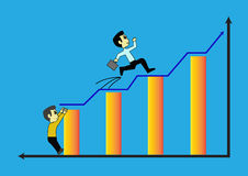 Businessman jumpping and climb on the blue arrow street to succe. Two Businessman jumpping and climb on the blue arrow street to success Stock Images
