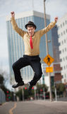 Businessman Jumps In The Air Stock Images