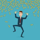 A businessman jumps and dances with joy in the rain of money. Money is crumpled in the hands stock illustration