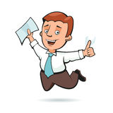 Businessman jumps with happiness Royalty Free Stock Photo
