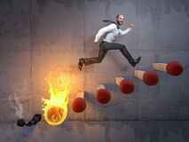 Free Businessman Jumps On A Stair Made Of Matches Stock Images - 208925194
