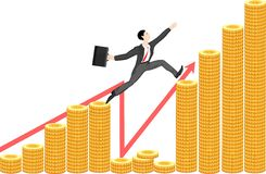 Businessman. Jumps over the financial abyss Royalty Free Stock Images
