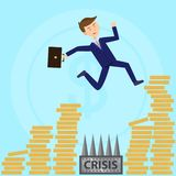 Businessman jumps over profoundness escaping crisis flat royalty free illustration