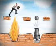 Businessman jumps to overcome obstacles Royalty Free Stock Photography