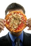 Businessman and junk fast food, pizza Stock Image