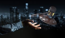 Businessman with justice hammer 3D rendering. Businessman on blurred background with justice hammer 3D rendering Royalty Free Stock Photos