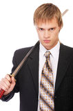 Businessman with katana Stock Image