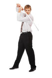 Businessman with katana Royalty Free Stock Photography
