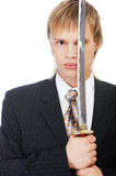 Businessman with katana Royalty Free Stock Photos