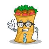Businessman kebab wrap character cartoon. Vector illustration royalty free illustration