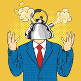 Businessman with the kettle instead of a head with a steam pulled out from the lid Stock Photography