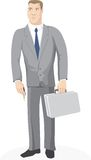 Businessman with key and case Stock Images