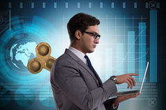 The businessman with key in hardworking concept Royalty Free Stock Photos