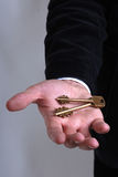 Businessman with a key in his hand Stock Image