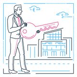 Businessman with a key - line design style illustration Vector Illustration