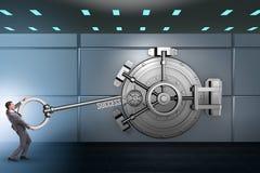 The businessman with key near bank vault door. Businessman with key near bank vault door Royalty Free Stock Photo