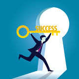 Businessman with Key of Success Royalty Free Stock Images