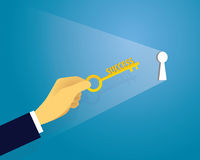 Businessman with Key of Success Stock Images
