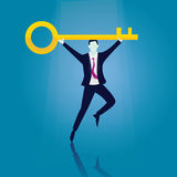 Businessman with Key of Success Royalty Free Stock Image