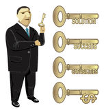 Businessman key to business  solution success. Illustration of businessman holding a key of multi- functions. All elements in this  are isolated on background Stock Images