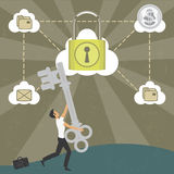 Businessman with the key to a secure cloud. Illustration of a businessman with the key to a secure cloud. The grunge texture is removable from the background Royalty Free Stock Photography