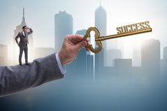 The businessman with key to success business concept Stock Images