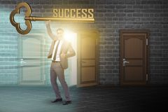 The businessman with key to success business concept Stock Photography