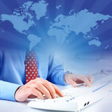 Businessman and keyboard Royalty Free Stock Photos