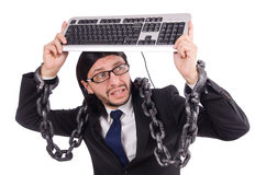 Businessman with keyboard isolated on white Royalty Free Stock Photo