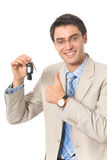 Businessman keys of new car Royalty Free Stock Image
