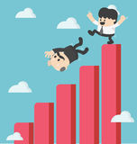 Businessman kick  fall from the graph Stock Images