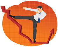 Businessman kicking a chart Stock Image