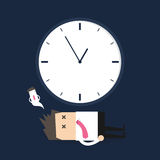 Businessman killed by time. Vector illustration Stock Photography