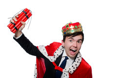 Businessman king with dynamite Royalty Free Stock Image