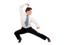 Businessman in kung fu pose Royalty Free Stock Image