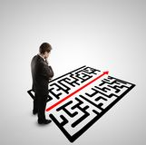 Businessman and  labyrinth Stock Photo