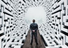 Businessman in labyrinth Stock Images